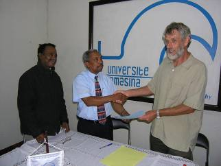 Signing of MOU between the GRENE program at the University of Toamasina and ASU, July 2008.