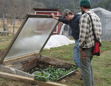 SD students looking at plants in cold frame