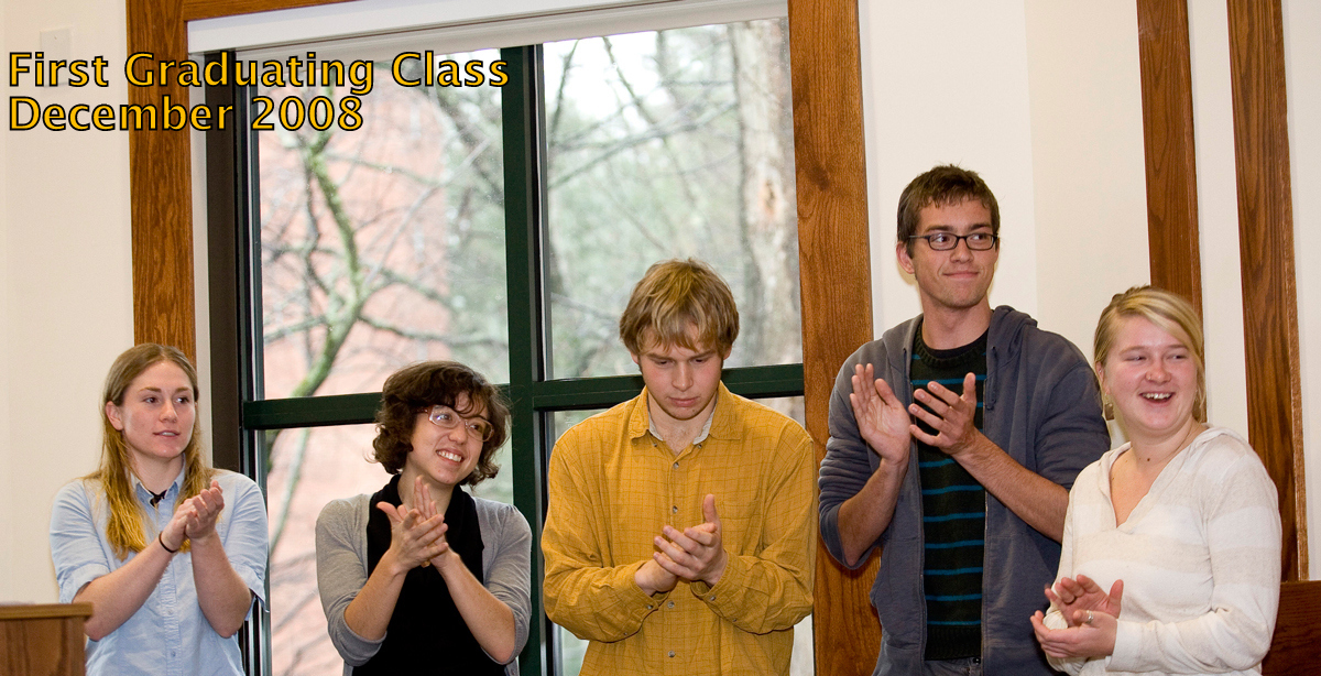 First Graduating Class, December 2008, five students